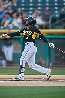 Luis Rengifo (5) of the Salt Lake Bees bats against the El Paso Chihuahuas at Smith's Ballpark on August 14, 2018 in Salt Lake City, Utah. El Paso defeated Salt Lake 6-3. (Stephen Smith/Four Seam Images)