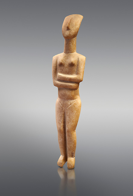 Marble female Cycladic statue figurine with folded arms of the Spedos type. Early Cycladic Period II (2800-2300 BC) from Naxos, Cat No 6195. National Archaeological Museum, Athens.   Grey background.<br /> <br /> <br /> This Cycladic statue figurine is of the Spedos type standing on tip tie with bended knees and arms folded under the breasts with head raiised.