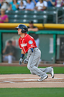 Daniel Robertson (2) of the Tacoma Rainiers at bat against the Salt Lake Bees in Pacific Coast League action at Smith's Ballpark on July 22, 2016 in Salt Lake City, Utah. The Rainiers defeated the Bees 8-3. (Stephen Smith/Four Seam Images)