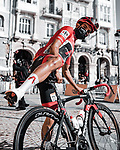 Race leader Red Jersey Richard Carapaz (ECU) Ineos Grenadiers at sign on before the start of Stage 10 of the Vuelta Espana 2020 running 187.4km from Castro Urdiales to Suances, Spain. 30th October 2020.  <br /> Picture: Unipublic/BaixauliStudio | Cyclefile<br /> <br /> All photos usage must carry mandatory copyright credit (© Cyclefile | Unipublic/BaixauliStudio)