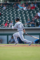 Peoria Javelinas designated hitter Joe McCarthy (21), of the Tampa Bay Rays organization, follows through on his swing during an Arizona Fall League game against the Mesa Solar Sox at Sloan Park on October 11, 2018 in Mesa, Arizona. Mesa defeated Peoria 10-9. (Zachary Lucy/Four Seam Images)