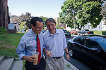 Matt Dunne candidate for governor and Senate candidate Peter Galbraith share a light moment during a recent campaign stop in Brattleboro Vermont. The Vermont primary is August 24, 2010