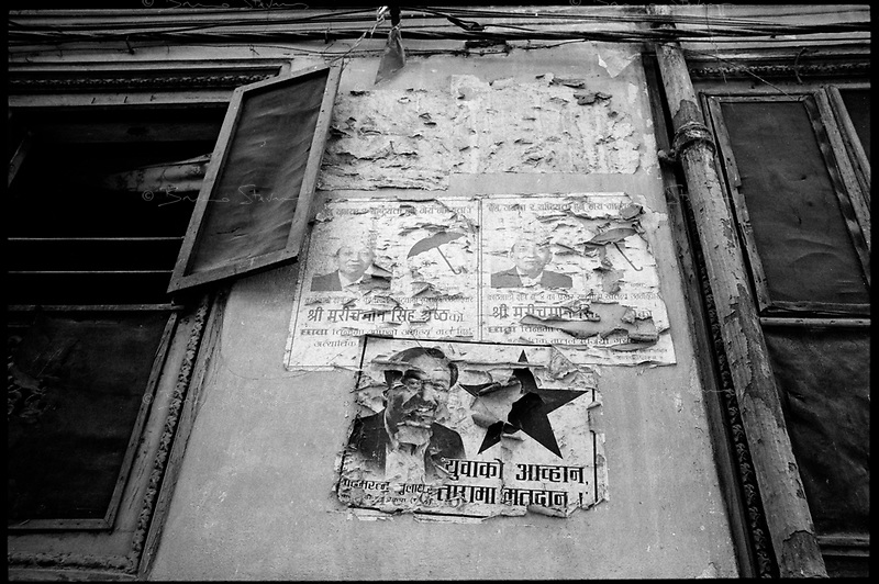Kathmandu, Nepal, February 2005.On February 1st, King Gyanendra has decreted a state of emergency, suspending all democratic rights. A rare exemple of political posters on a wall.