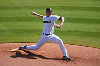 Louisville Cardinals pitcher Kade McClure (19) delivers a pitch during a game against the Cal State Fullerton Titans on February 15, 2015 at Bright House Field in Clearwater, Florida.  Cal State Fullerton defeated Louisville 8-6.  (Mike Janes/Four Seam Images)