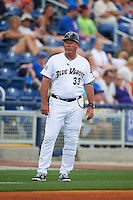 Pensacola Blue Wahoos manager Pat Kelly (33) during the second game of a double header against the Biloxi Shuckers on April 26, 2015 at Pensacola Bayfront Stadium in Pensacola, Florida.  Pensacola defeated Biloxi 2-1.  (Mike Janes/Four Seam Images)