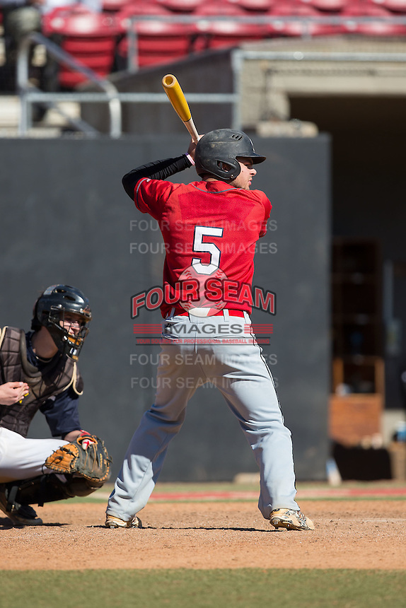 Luke Robinson (5) of East Guilford High School in Gibsonville, North Carolina playing for the St. Louis Cardinals scout team at the South Atlantic Border Battle at Doak Field on November 2, 2014.  (Brian Westerholt/Four Seam Images)