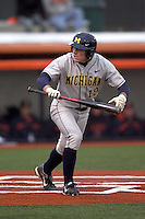 April 11, 2008:  University of Michigan Wolverines starting outfielder Kevin Cislo (19) against the University of Illinois Fighting Illini at Illinois Field in Champaign, IL.  Photo by:  Chris Proctor/Four Seam Images