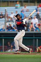 Lowell Spinners third baseman Xavier LeGrant (15) at bat during a game against the Auburn Doubledays on July 13, 2018 at Falcon Park in Auburn, New York.  Lowell defeated Auburn 8-5.  (Mike Janes/Four Seam Images)