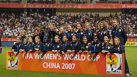 The United States team after receiving their medals for their third place finish. Germany (GER) defeated Brazil (BRA) 2-0 in the finals of the 2007 FIFA Women's World Cup. at Shanghai Hongkou Football Stadium in Shanghai, China on September 30, 2007.