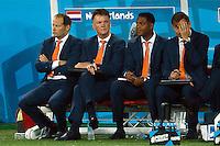 Netherlands manager Louis van Gaal looks dejected