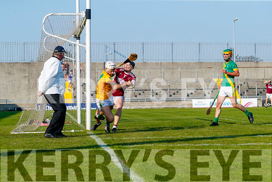 John B. O'Halloran Captain, Kilmoyley in action against Evan Murphy, Causeway during the Kerry County Senior Hurling Championship Final match between Kilmoyley and Causeway at Austin Stack Park in Tralee