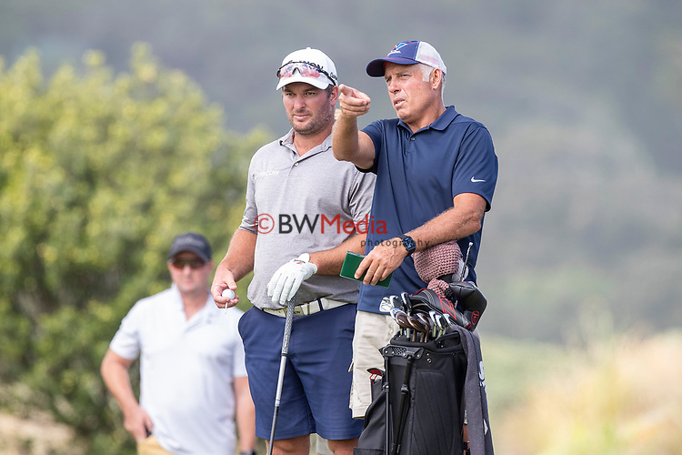 Ryan Fox with caddy Steve Williams in action during The Autex Muriwai Open, Muriwai, Auckland, New Zealand, Thursday 8 April 2021 Photo: Dave Rowland/www.bwmedia.co.nz