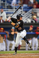 West Virginia Black Bears second baseman Tyler Leffler (59) at bat during a game against the Batavia Muckdogs on June 29, 2016 at Dwyer Stadium in Batavia, New York.  West Virginia defeated Batavia 9-4.  (Mike Janes/Four Seam Images)