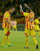 PEREIRA -COLOMBIA -20-11-2014. Mario Edison Gimenez (Izq) jugador del Pareira celebra un gol durante el partido en el que Deportivo Pereira derrotó a Rionegro FC por marcador de 3-1 goles en partido por la fecha 4 de los cuadrangulares semifinales del Torneo Postobón 2014 II de Ascenso jugado en el estadio Hernán Ramírez Villegas de las ciudad de Pereira./ Mario Edison Gimenez (L)player of Pereira celebrates a goal during the match where Deportivo Pereira defeated to Rionegro FC by score of 3-1 goals in match for the 4th date of the final quadrangular of the  Postobon Tournament 2014 II played at Hernan Ramirez Villegas stadium in Pereira city.  Photo: VizzorImage/STR