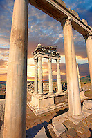 Pillars of the Greco - Roman Temple of Trajan, started by Trajan but after his death Emperor Hadrian (117-138) . A Corinthian order temple on a terrace with dimensions of 68 × 58 m (223.10 ft × 190.29 ft). Pergamon (Bergama) Archaeological Site, Turkey