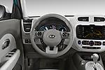Car pictures of steering wheel view of a 2018 KIA Soul EV Base 5 Door Hatchback