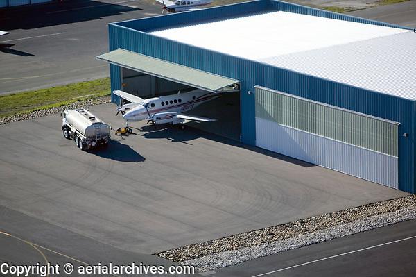 Fueling a King Air preparing to depart at the Petaluma Municipal Airport (O69), Petaluma, Sonoma County, California