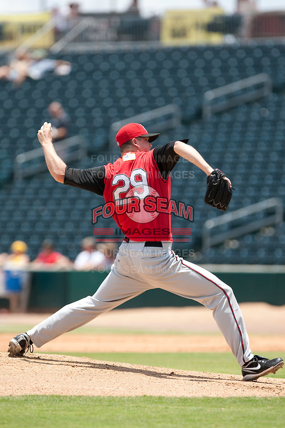 Travis Webb (29) of the  Carolina Mudcats during a game vs. the Jacksonville Suns May 31 2010 at Baseball Grounds of Jacksonville in Jacksonville, Florida. Jacksonville won the game against Carolina by the score of 3-2. Photo By Scott Jontes/Four Seam Images