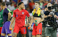 NASHVILLE, TENN - JULY 03: Weston McKennie #8, Christian Pulisic #10 and the USMNT celebrate their Semifinal victory over Jamaica during a 2019 CONCACAF Gold Cup Semifinal match between the United States and Jamaica at Nissan Stadium on July 03, 2019 in Nashville, Tennessee.