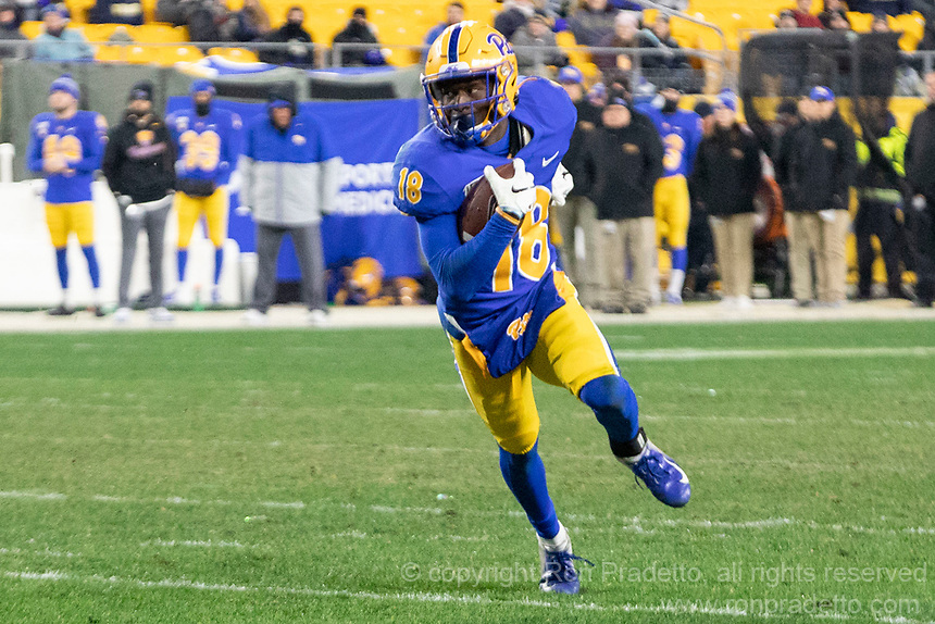 Pitt wide receiver Shocky Jacques-Louis (18). The Pitt Panthers defeated the North Carolina Tarheels 34-27 in overtime in the football game on November 14, 2019 at Heinz Field, Pittsburgh, Pennsylvania.