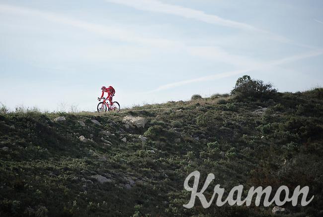 Jurgen Van den Broeck (BEL/Katusha) coming down the Coll de Rates (Alicante, Spain)<br /> <br /> January 2016 Training Camps
