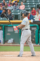 Stefen Romero (17) of the Tacoma Rainiers at bat against the Salt Lake Bees in Pacific Coast League action at Smith's Ballpark on May 7, 2015 in Salt Lake City, Utah.  (Stephen Smith/Four Seam Images)