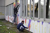 - Milano, febbraio 2019, vengono ripristinate le scritte antifasciste sul muro del liceo Agnesi, vandalizzate da mano fascista alcune notti prima.<br /> <br /> - Milan, February 2019, the anti-fascist graffiti on the wall of  Agnesi high school, vandalized by fascist hand a few nights before, are restored.<br /> - Milano, febbraio 2019, vengono ripristinate le scritte antifasciste sul muro del liceo Agnesi, vandalizzate da mano fascista alcune notti prima.<br /> <br /> - Milan, February 2019, the anti-fascist graffiti on the wall of  Agnesi high school, vandalized by fascist hand a few nights before, are restored.
