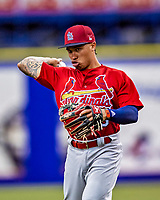 26 March 2018: St. Louis Cardinals second baseman Kolten Wong, warms up prior to an exhibition game against the Toronto Blue Jays at Olympic Stadium in Montreal, Quebec, Canada. The Cardinals defeated the Blue Jays 5-3 in the first of two MLB pre-season games in the former home of the Montreal Expos. Mandatory Credit: Ed Wolfstein Photo *** RAW (NEF) Image File Available ***
