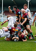 20th March 2021; Twickenham Stoop, London, England; English Premiership Rugby, Harlequins versus Gloucester; Harlequins, Gloucester; Alex Dombrandt of Harlequins scores the final try on the afternoon with much delight shown from teammates
