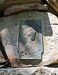 Germany, Bavaria, Lower Franconia, Bad Kissingen: Empress Elizabeth memorial plate at Altenberg hill | Deutschland, Bayern, Unterfranken, Bad Kissingen: Kaiserin-Elisabeth-Denkmal (Sisi) auf dem Altenberg