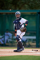 GCL Braves catcher Victor De Hoyos (2) looks into the dugout during the second game of a doubleheader against the GCL Yankees West on July 30, 2018 at Champion Stadium in Kissimmee, Florida.  GCL Braves defeated GCL Yankees West 5-4.  (Mike Janes/Four Seam Images)