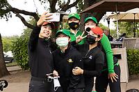STANFORD, CA - APRIL 25: YuSang Hou, Ching-Tzu Chen, Hsin-Yu Lu, Tze-Han Lin, Vivian Hou at Stanford Golf Course on April 25, 2021 in Stanford, California.