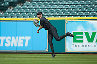 Vanderbilt Commodores right fielder JJ Bleday (51) throws the ball back to the infield during the game against the Sam Houston State Bearkats in game one of the 2018 Shriners Hospitals for Children College Classic at Minute Maid Park on March 2, 2018 in Houston, Texas. The Bearkats walked-off the Commodores 7-6 in 10 innings.   (Brian Westerholt/Four Seam Images)