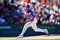 Clemson Tigers starting pitcher Brooks Crawford (19) delivers a pitch during a game against the South Carolina Gamecocks at Fluor Field on March 3, 2018 in Greenville, South Carolina. The Tigers defeated the Gamecocks 5-1. (Tony Farlow/Four Seam Images)