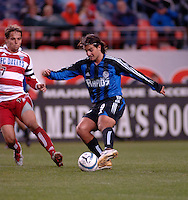 Colorado midfielder Dedi Ben Dayan cuts the ball back against FC Dallas midfielder Simo Valakari. The Colorado Rapids drew 0-0 with FC Dallas in the first game of the Western Conference Semi-finals Invesco Field at Mile High, Denver, Colorado, September 22, 2005.