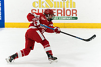 WORCESTER, MA - FEBRUARY 08: Grace Parker #20 of Boston University takes a shot during a game between Boston University and College of the Holy Cross at Hart Center Rink on February 08, 2020 in Worcester, Massachusetts.