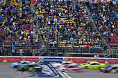 #41: Kurt Busch, Stewart-Haas Racing, Ford Fusion Monster Energy / Haas Automation, #18: Kyle Busch, Joe Gibbs Racing, Toyota Camry M&M's Red White & Blue, #12: Ryan Blaney, Team Penske, Ford Fusion DEX Imaging, and #21: Paul Menard, Wood Brothers Racing, Ford Fusion Menards / Jack Links