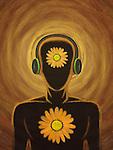 Illustration of man wearing headset representing inner peace