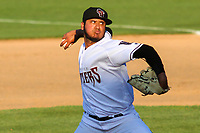 Wisconsin Timber Rattlers pitcher Harold Chirino (25) delivers a pitch during a game against the West Michigan Whitecaps on May 22, 2021 at Neuroscience Group Field at Fox Cities Stadium in Grand Chute, Wisconsin.  (Brad Krause/Four Seam Images)