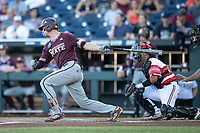 Mississippi State Bulldogs shortstop Jordan Westburg (11) follows through on his swing during Game 10 of the NCAA College World Series against the Louisville Cardinals on June 20, 2019 at TD Ameritrade Park in Omaha, Nebraska. Louisville defeated Mississippi State 4-3. (Andrew Woolley/Four Seam Images)