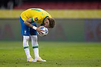4th June 2021; Beira-Rio Stadium, Porto Alegre, Brazil; World Cup 2022 qualifiers; Brazil versus Ecuador; Neymar of Brazil kisses the ball before taking his penalty kick