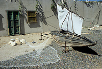 Muscat, Oman.  A Shaasha, or Sashah, a Traditional Fishing Boat made of the Stalk of the Date Palm Frond (Barusti).  Bait al-Zubair Museum.