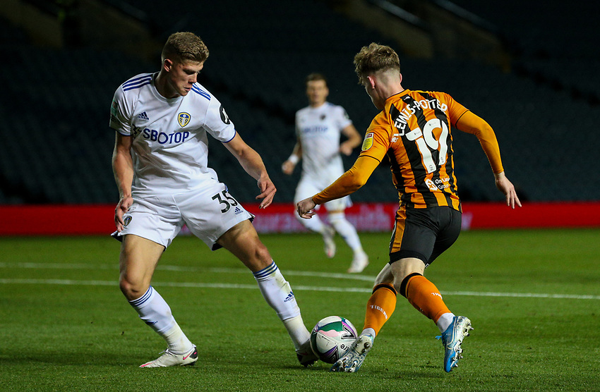 Hull City's Keane Lewis-Potter is tackled by Leeds United's Charlie Cresswell<br /> <br /> Photographer Alex Dodd/CameraSport<br /> <br /> Carabao Cup Second Round Northern Section - Leeds United v Hull City -  Wednesday 16th September 2020 - Elland Road - Leeds<br />  <br /> World Copyright © 2020 CameraSport. All rights reserved. 43 Linden Ave. Countesthorpe. Leicester. England. LE8 5PG - Tel: +44 (0) 116 277 4147 - admin@camerasport.com - www.camerasport.com