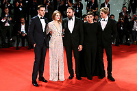VENICE - August 30: (L-R) Nicholas Hoult, Emma Stone, Yorgos Lanthimos, Olivia Colman and Joe Alwyn attend the 'The Favorite' première on August 30, 2018 in Venice, Italy.(By Mark Cape/Insidefoto)