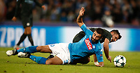 Football Soccer: UEFA Champions League Napoli vs Mabchester City San Paolo stadium Naples, Italy, November 1, 2017. <br /> Manchester City's Sergio Aguero (r) in action with Napoli's Elseid Hisaj (l) during the Uefa Champions League football soccer match between Napoli and Manchester City at San Paolo stadium, November 1, 2017.<br /> UPDATE IMAGES PRESS/Isabella Bonotto