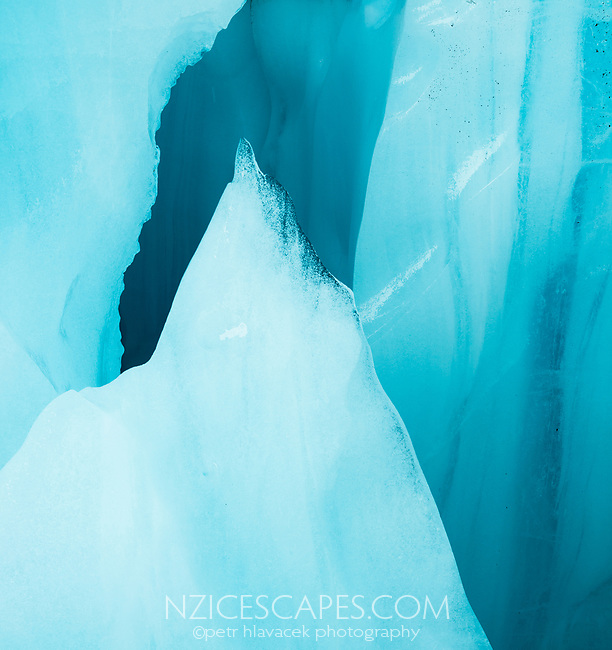 Shard of blue ice cave on Fox Glacier, Westland Tai Poutini National Park, West Coast, UNESCO World Heritage Area, New Zealand, NZ