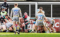 20th February 2021; Welford Road Stadium, Leicester, Midlands, England; Premiership Rugby, Leicester Tigers versus Wasps; Jasper Wiese of Leicester Tigers scores a try in the 4th minute 5-0