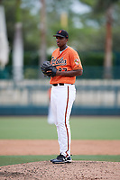 Baltimore Orioles pitcher Hector Guance (87) gets ready to deliver a pitch during an Instructional League game against the Tampa Bay Rays on October 2, 2017 at Ed Smith Stadium in Sarasota, Florida.  (Mike Janes/Four Seam Images)