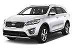 2015 KIA Sorento Fusion AWD 5 Door Suv Angular Front stock photos of front three quarter view
