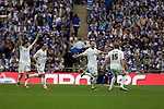 Reading 2 Swansea City 4, 30/05/2011. Wembley Stadium, Championship play-off final. Swansea players celebrating their team's third goal, scored by Scott Dobbie (second right) during the Npower Championship play-off final between Reading (blue) and Swansea City at Wembley Stadium. The match was won by Swansea by 4 goals to 2 watched by a crowd of 86,581. Swansea became the first Welsh team to reach the top division of English football since they themselves played there in 1983. Photo by Colin McPherson.